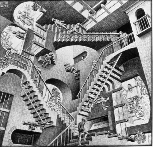 in het trappenhuis